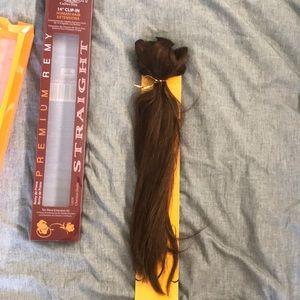 Dark brown 14' clip in real hair extensions